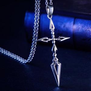 Image 3 - Fate Zero Saber Pendant Silver 925 Sterling Cross Jewelry Necklace Anime Role Emiya Kiritsugu Figure Model