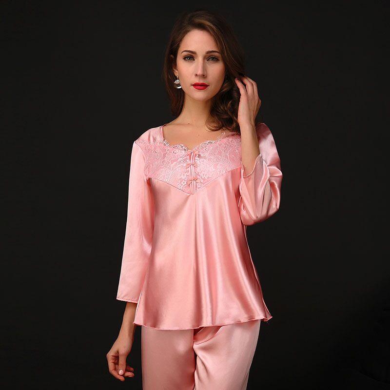 Womens   Pajamas     Sets   Sexy Lace Satin Sleepwear Nighty Female Casual Silk Pijamas Feminino 2pcs/  set   Pyjama Suit Nightwear Homewear