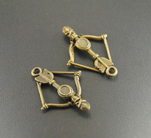 Free Shipping!  10pcs Metal Alloy 2 Colors Bow And Arrow Charm Handmade Charms Pendants Jewelry Findings 25x35mm A634/A318