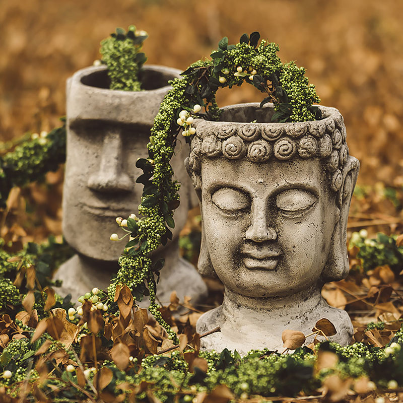 Creative 46Cm Garden Mysterious Easter Island Moai Head Statue Yard Balcony Vase Home  Decor Buddhism Flower Pot trophy
