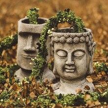 Creative 46Cm Garden Mysterious Easter Island Moai Head Statue Yard Balcony Vase Home Decor Buddhism Flower Pot