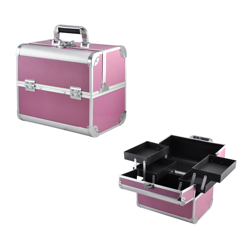 FGGS- Large Space Beauty Make up Nail Tech Cosmetic Box Vanity Case Storage - Pink