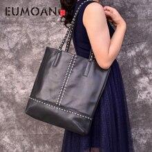 EUMOAN Brand Women Genuine Leather Shoulder Bags Causal Vintage Soft Cowhide Skin Handbag Shopping Bucket Liner Bag High Quality цены