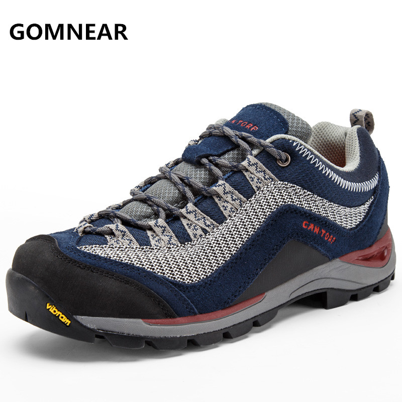 ФОТО GOMNEAR New Arrival men's antiskid hiking shoes Breathable waterproof outdoor Leisure tourism jogging sport tennis trainer shoes