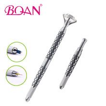 1Pc BQAN Silver Steel Dots Eyebrow Pen 2 Sides Manual Tatoo Pen Microblading Eyebrow Shaping Tool For 3D Eyebrow Embroidery