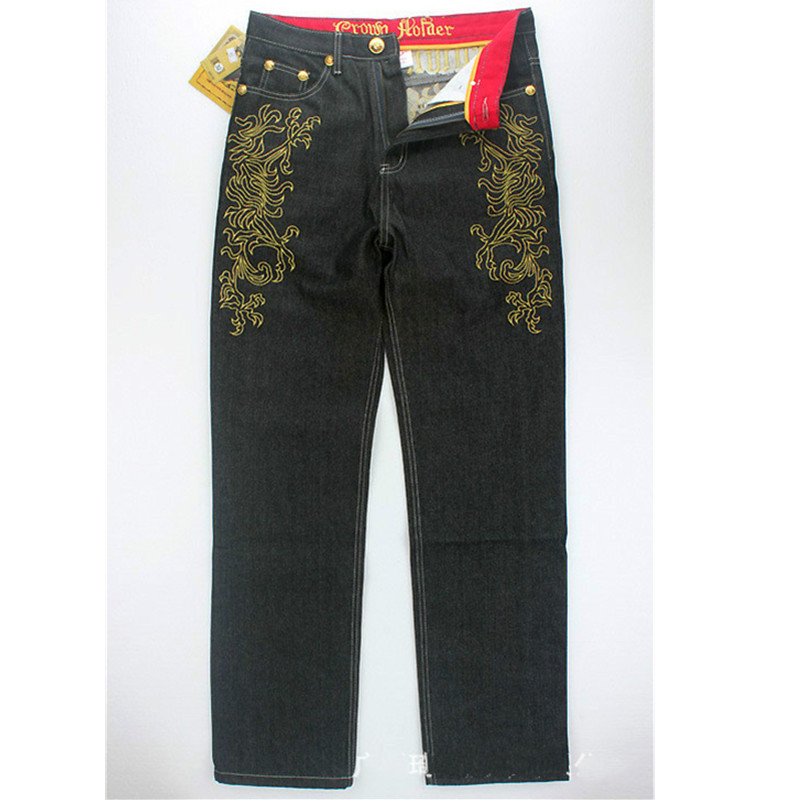 ФОТО American Style Men Straight Embroidery loose Jeans Skateboard Man Dancing Jeans Special Pocket Plus Size