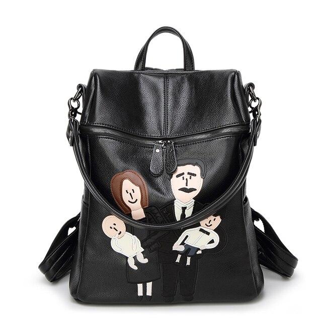 8dfa46f9e980 New Women Characters Backpack High Quality Leather School Bags For  Teenagers Girls Zipper Backpacks IPAD Bag