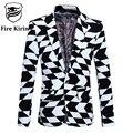 Блейзер Мужчины 2017 Slim Fit Черный Белый Мужской Костюм Куртка 5XL Luxury Brand Мужская Мода Blazer Геометрические Печати Мужчина Износ Этапа Q222