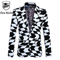 Blazer Men 2017 Slim Fit Black White Mens Suit Jacket 5XL Luxury Brand Mens Fashion Blazer Geometric Male Print Stage Wear Q222
