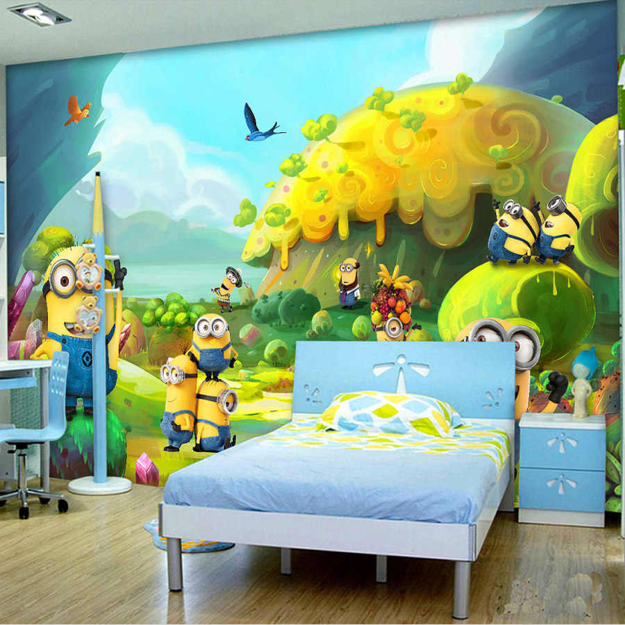 Cartoon Wallpaper Minions Wallpaper Custom 3D Wall Mural Kids Bedroom Decor Children S Playground Despicable Me Wallpaper