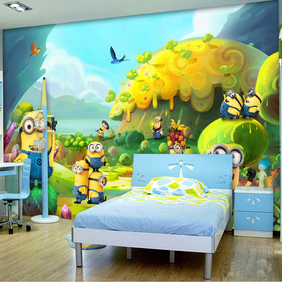 Wall Decor Childrens Rooms : Aliexpress buy cartoon photo wallpaper minions