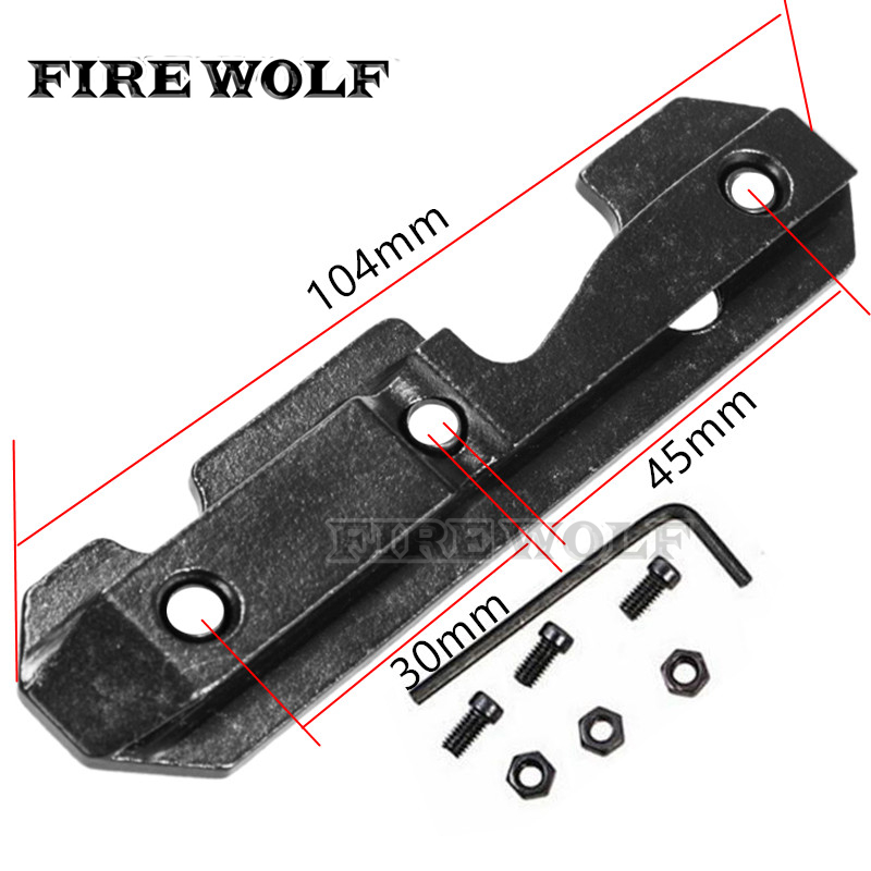 FIRE WOLF Tactical AK Side Dovetail Mount Plate Rail Steel Heavy Duty With Bolts Fit 47 & 74 Saiga Etc Series Hunting