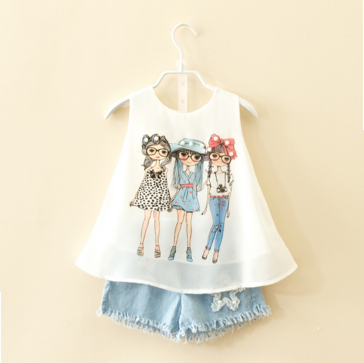 2018 Summer girl sleeveless tees white 3 girl shirts+soft denim jeans ripped shorts clothes kids baby school girl design dresses