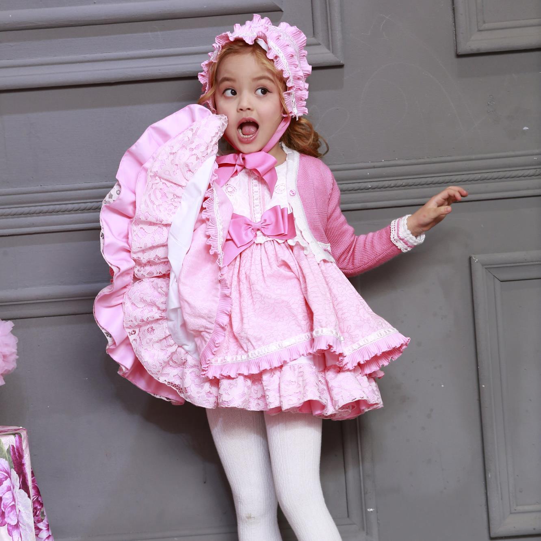 Spanish Custom Made Series Princess Skirt Peach Pink Kids Gilrs Dress 2019 Fall Children Dress One Year Old Birthday Party Dress