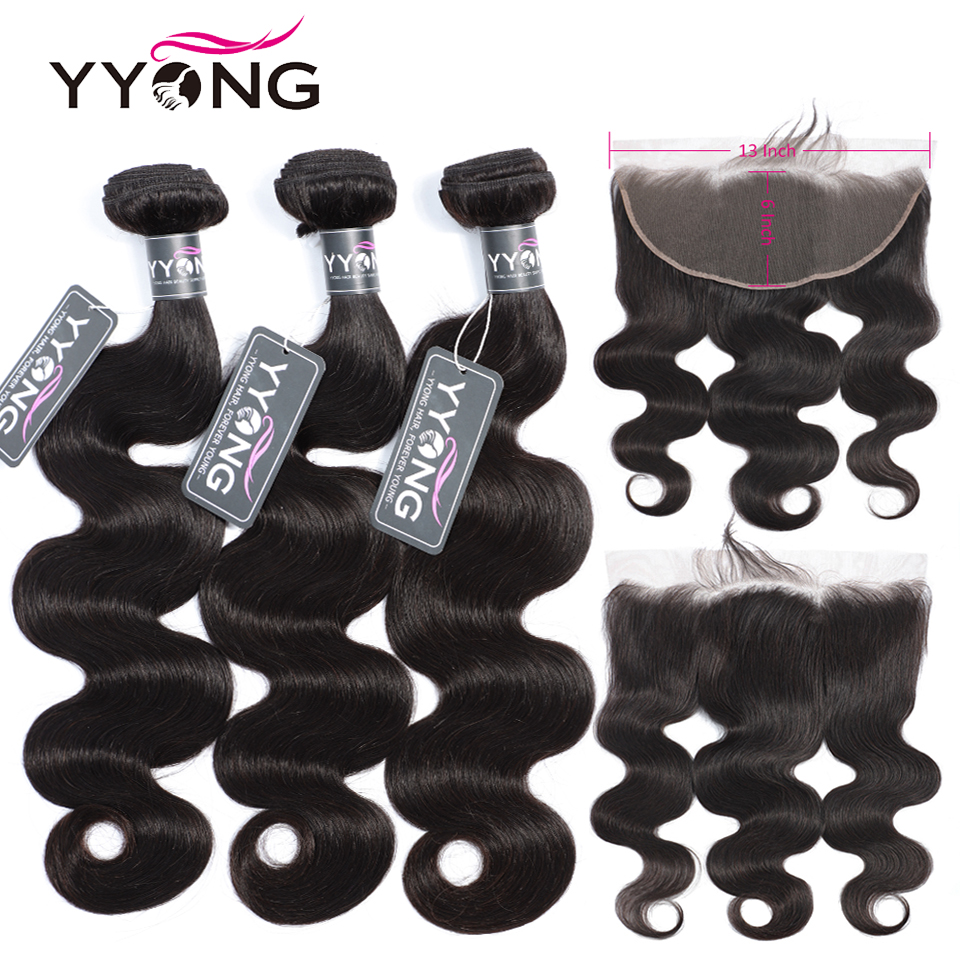 YYong 13x6 Lace Frontal With Bundles Peruvian Body Wave 3 Bundles With Frontal Remy Human Hair With Frontal Closure Cheuveux