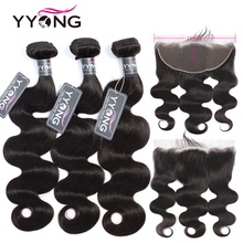 YYong 13x6 Lace Frontal With Bundles Peruvian Body Wave 3 Remy Human Hair Closure Cheuveux