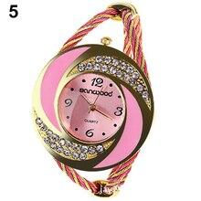 Fashion Women Round Crystal Rhinestone  Decorated Bangle Cuff Analog Quartz Bracelet Watch 0JTP