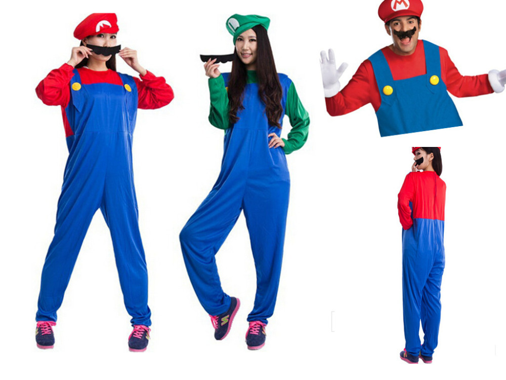 funy cosplay kost m super mario luigi br der klempner. Black Bedroom Furniture Sets. Home Design Ideas