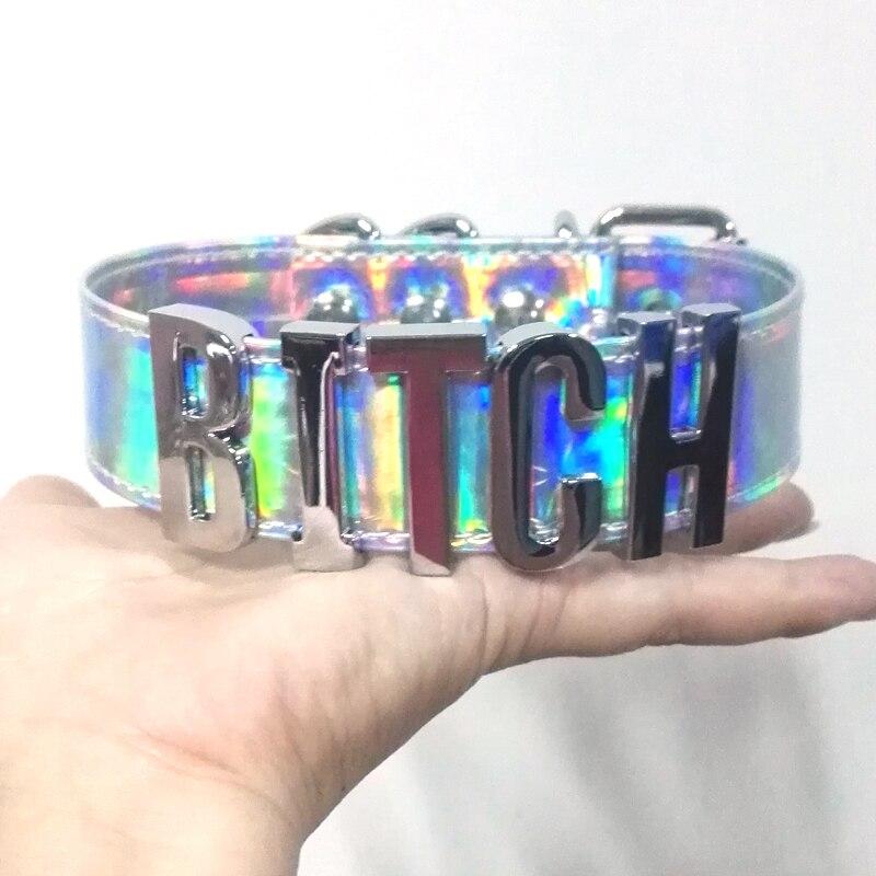 100% handgemachten Custom Brief Halsband Holographische PU Leder Laser Wort Kragen Bondage Cosplay Choker Halskette
