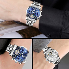 Men Automatic Mechanical Watches Luxury Brand Fashion Tourbillon Stainless Steel Business