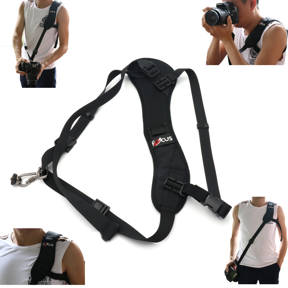 Focus F-1 Quick Rapid Carry Speed Soft Pro Shoulder Sling Belt Neck Strap For Camera SLR DSLR Black + track number