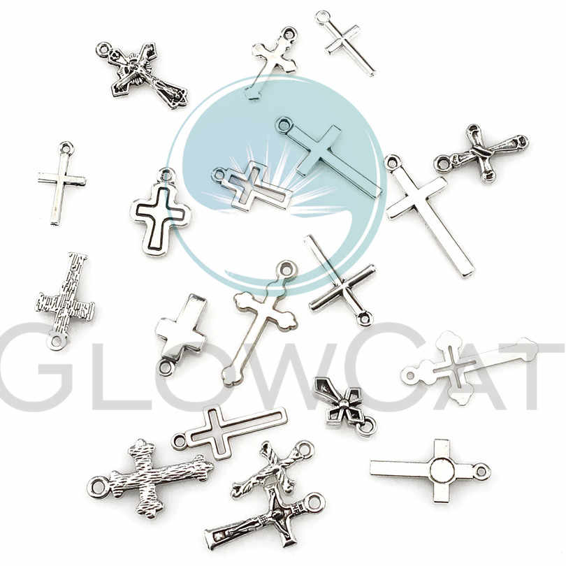 22395 Vintage Cross Jesus Charms Christian for Necklace Pendants Jewelry  Making DIY Charms Crafts Handmade Cross 20pcs