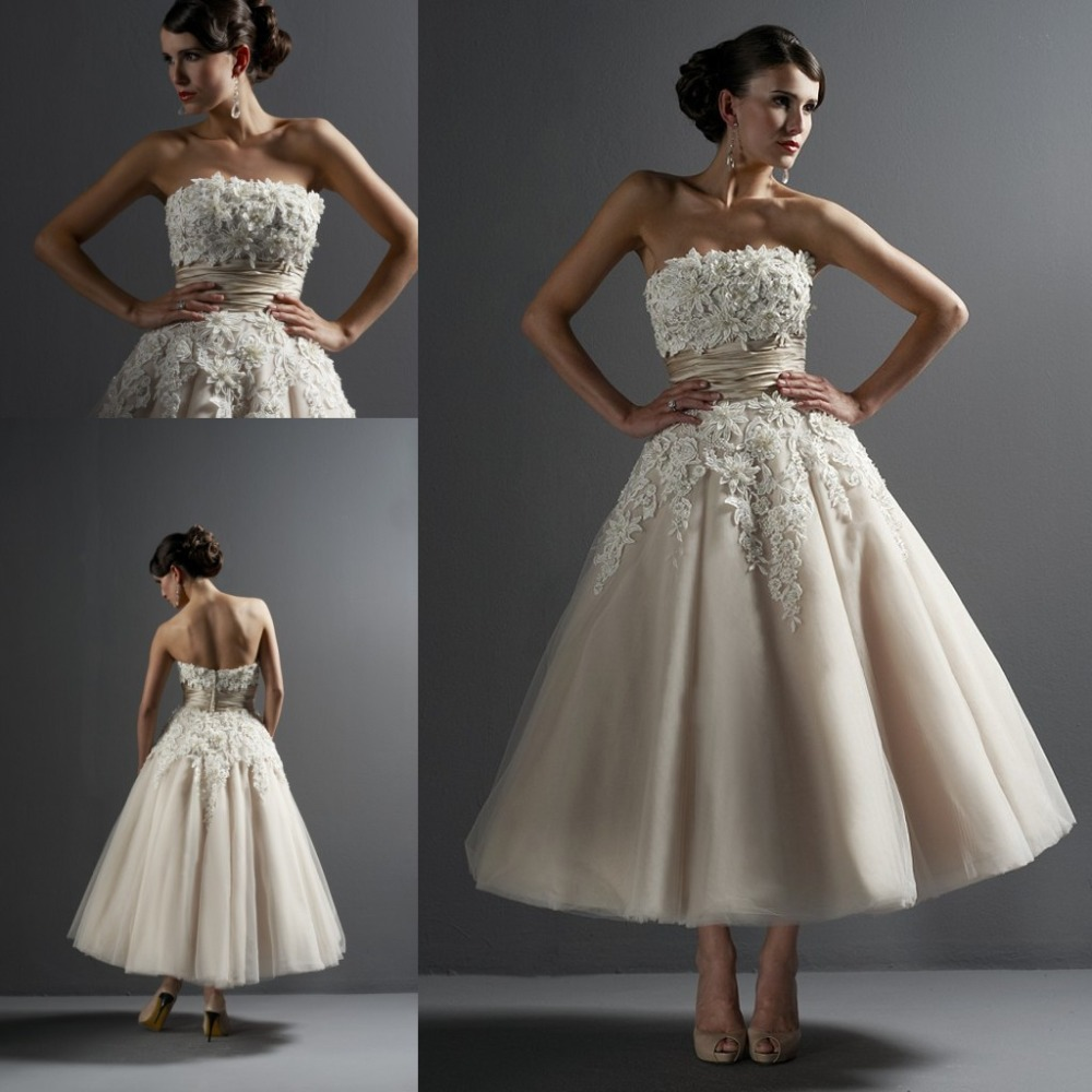 Dreamlike Mid Calf Length Ball Gown Wedding Dress With Flowers - Mid Length Wedding Dresses