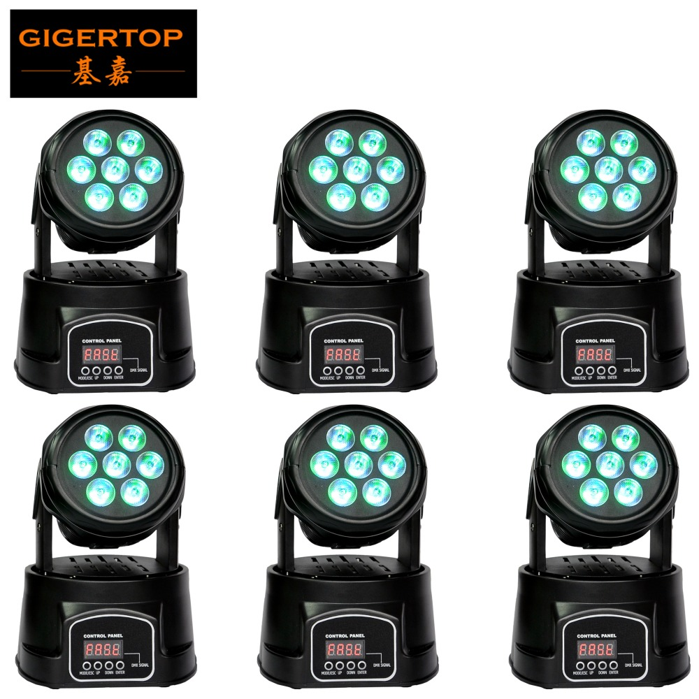 6pcs/lot Stage Lighting 7x10W LED Moving Head Wash Light RGBW 4In1 Cree Full Color DMX512 8/13 CH for Disco Party Wedding Effect niugul dmx stage light mini 10w led spot moving head light led patterns lamp dj disco lighting 10w led gobo lights chandelier