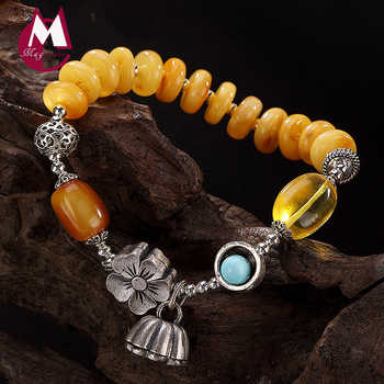 2019 Charm Bracelet 100% Real 925 Sterling Silver Jewelry Women Men Mosaic Beeswax amber Turquoise Lotus bracelets & bangles YB5 - DISCOUNT ITEM  40% OFF All Category