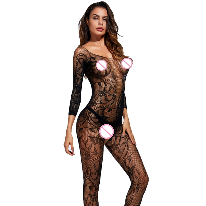 2019 Bodystocking Fishnet Sheer Mesh Bodysuit Sexy Leotard Sex Clothes Open Crotch Mesh Flower Hot Stocking On The Body