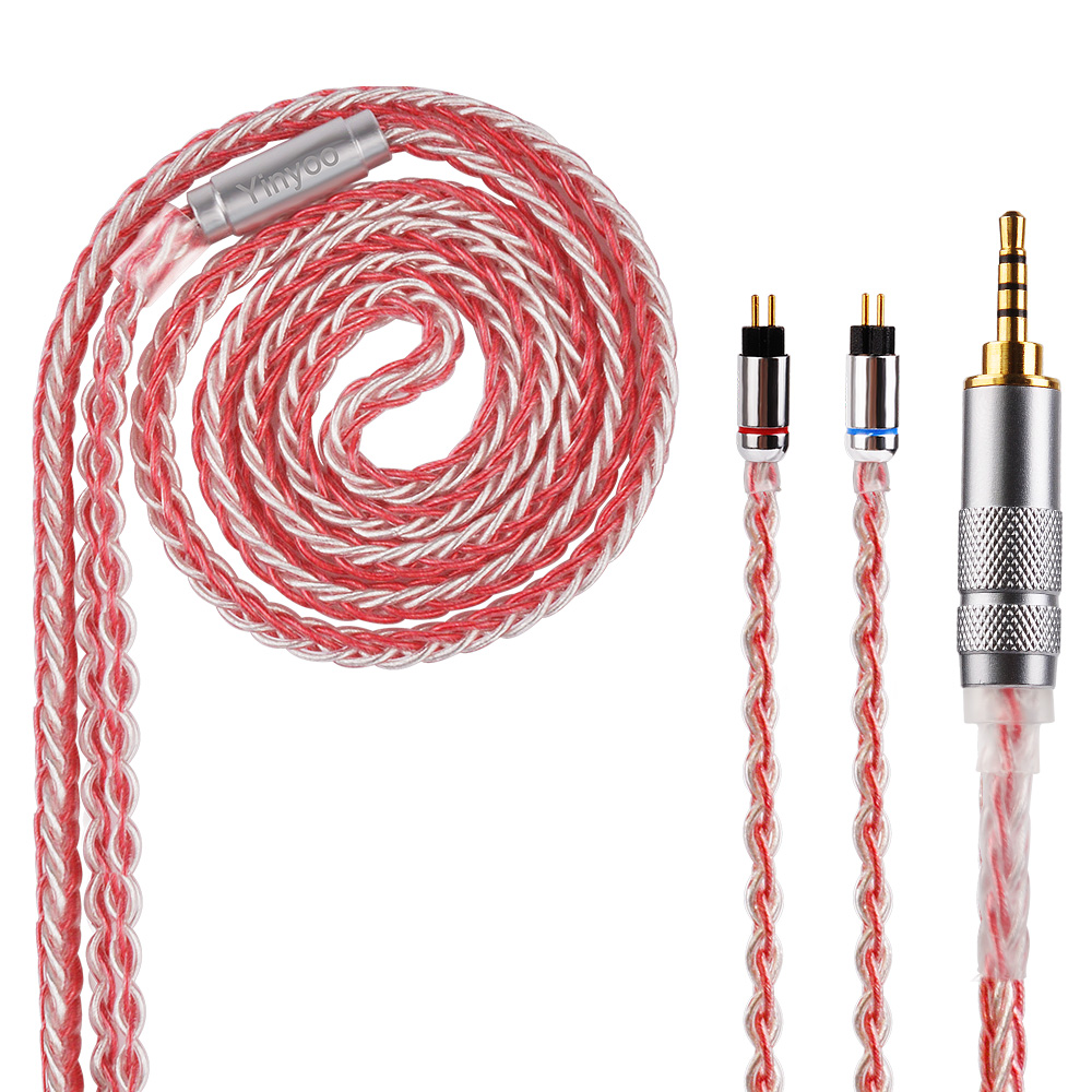 New Yinyoo H3 H5 8 Core Upgraded Silver Plated Copper Cable 3.5/2.5/4.4mm Cable With MMCX/2pin For For LZ A5 HQ5 HQ6 QT2 KZ ZS10 kinboofi 16 core silver copper cable 2 5 3 5 4 4mm balanced cable with mmcx 2pin connector for lz a5 hq5 hq6
