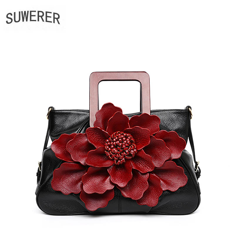 SUWERER women leather handbag Superior cowhide dimensional flowers bags tote women Genuine Leather bags women famous brand