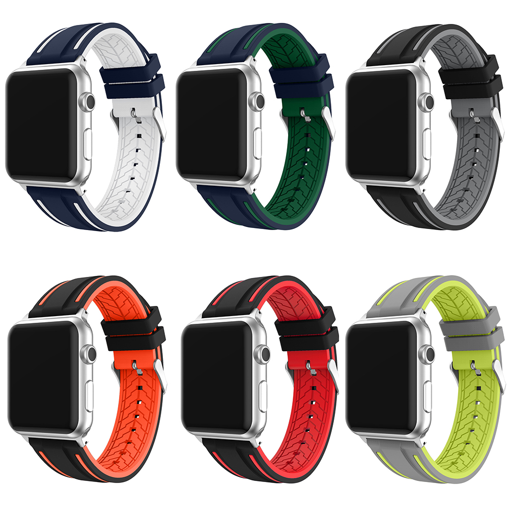 New Silicone Watchband for Apple Watch 38mm 42mm sport Band for Iwatch 1 2 3 Series Watchband Silicon Stylish Young Style Strap jansin 22mm watchband for garmin fenix 5 easy fit silicone replacement band sports silicone wristband for forerunner 935 gps