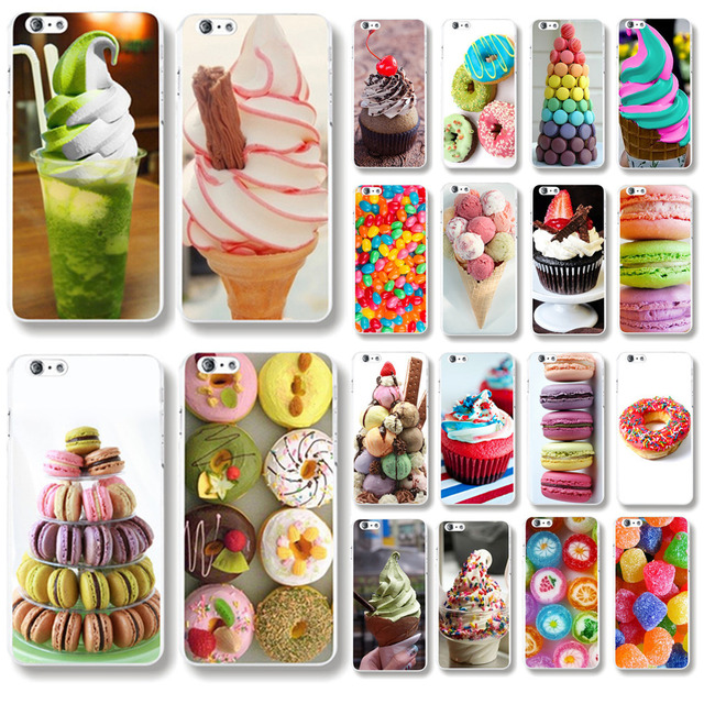Back Cases Cover For iphone 5 5s SE fundas Sweety Ice Cream Macarons Candy Patterns Hard Plastic Phone cases Bags Shell