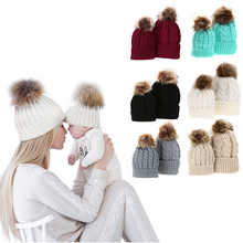 2Pcs/Set Mother+Baby Knitted Pom Bobble Hat Newborn Infant Winter Warm Beanie Cotton Parent-Child Hats Baby Cute Fur Ball