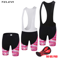 TELEYI Women Cycling Bib Shorts 5D Padded Anti Sweat Downhill MTB Cycling Bib Tights Pro Team