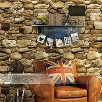 Waterproof 10m X 0.53m PVC Vintage Rustic Stone Brick Background Wallpaper Roll Living Room Bedroom Background 3d Wall Paper