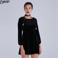 Women Black Velvet Skater Dress With Skinny Scarf Elegant Tied Keyhole Back Mini Clothing 2016 New