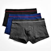 Cotton Underwear 3pcs/Lot Mens Casual Underpants Solid Color Mens Boxershorts U Bulge Pouch Boxer Shorts Trunks Underpants Pants u contour pouch striped panel trunks