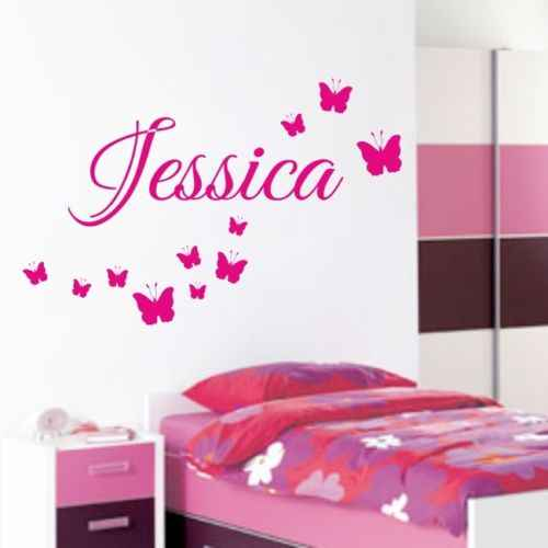D0017 PERSONALISED BUTTERFLY wall stickers nursery bedroom childrens decal girls vinyl