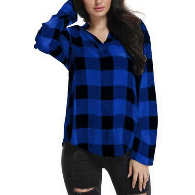 eb6d68a8b31 Laamei Women Plaid Shirts Spring Long Sleeve Blouses Shirt Office Lady  Cotton Lace up Shirt Tunic