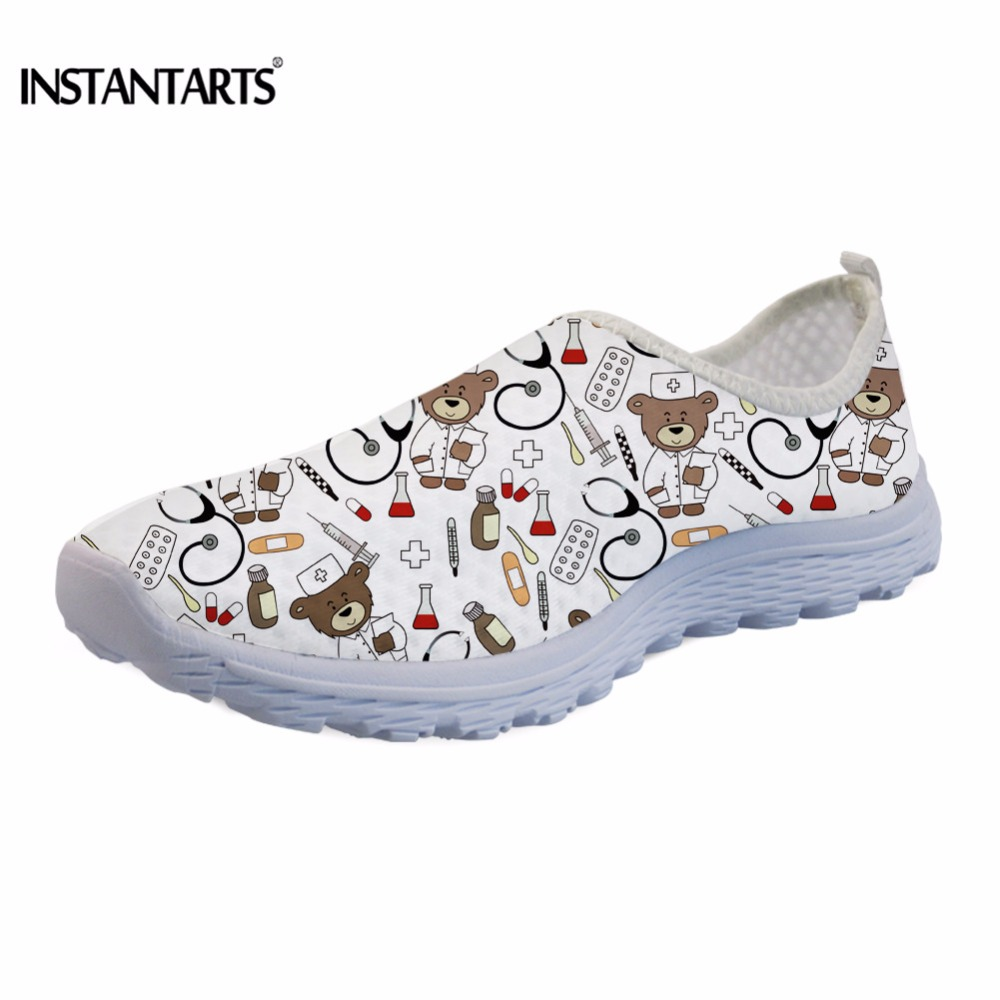 INSTANTARTS Cute Cartoon Pediatrics Doctor Print Summer Mesh Sneakers Women Casual Flats Super Light Walking Female Flat Shoes instantarts fashion women flats cute cartoon dental equipment pattern pink sneakers woman breathable comfortable mesh flat shoes