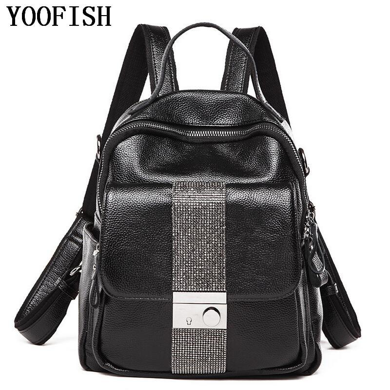 цена YOOFISH Women Backpack Bag Ladies Genuine Leather Schoolbag Fashion School Backpack Designer Brand Travel Rucksack LJ-892