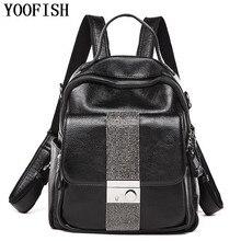 YOOFISH  Women Backpack Bag Ladies Genuine Leather Schoolbag Fashion School Backpack Designer Brand Travel Rucksack  LJ-892