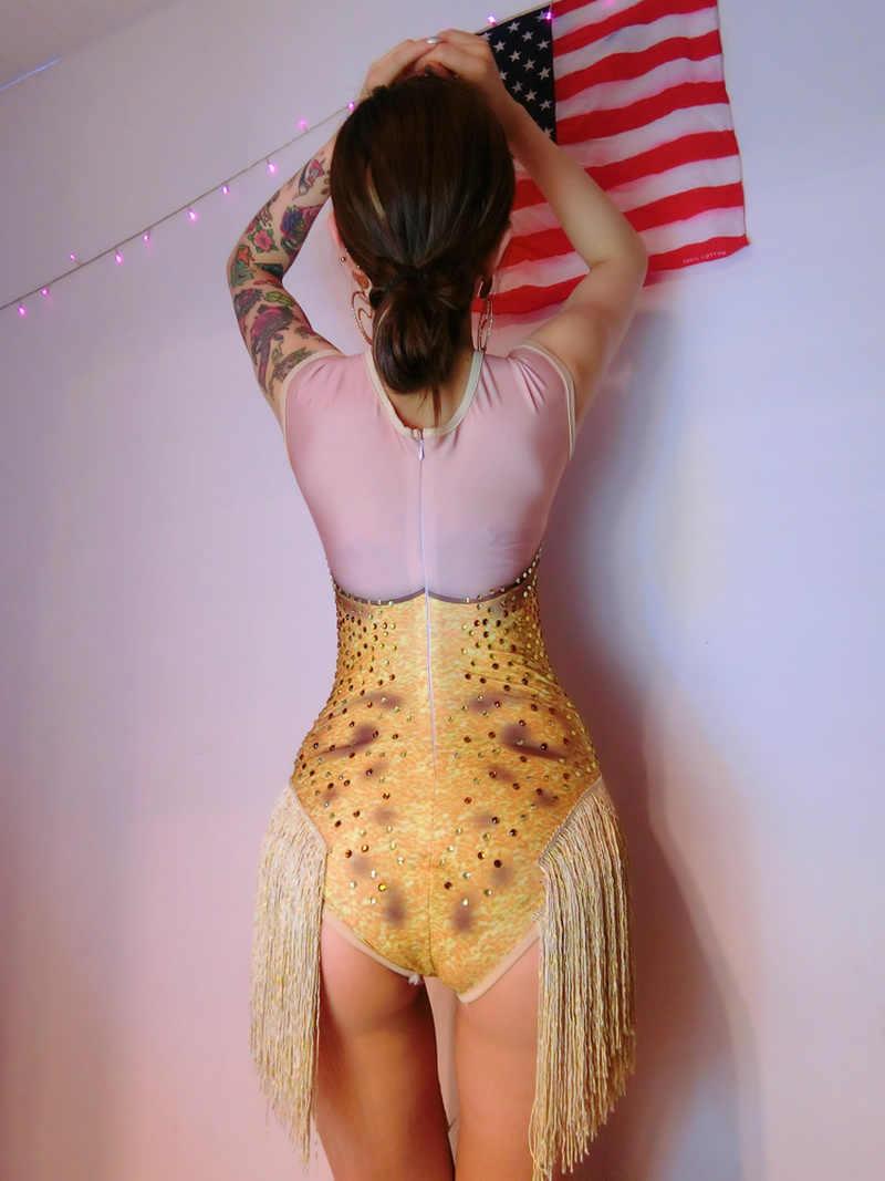 Bar piosenkarka kostiumy kobiet Ds Dj złoty błysk wiertła frędzle jednoczęściowy kostium taneczny chiński kostium DJRhinestone body