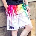 Радуга Цвет Масляной Живописи Печати Белый Основной Дизайн Одежды Человек Шорты Голограмма Повседневная Мальчики Шорты