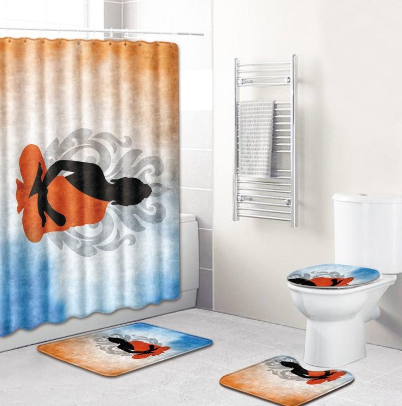 4 pièces/ensemble paysage impression rideau de douche imperméable Floormat Polyester tissu bain rideau écran lavable salle de bains décor crochets