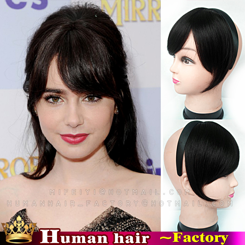 Frange Bangs Human Real Hair Extension Clip In On Side Front Fringe