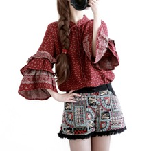 2017 Autumn Women Blouse shirt Elegant Vintage Cotton Blouse long Sleeve  Blusa Top
