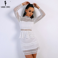 Missord 2018 Sexy Spring And Summer High Neck Long Sleeve Lace Dresses Female Hollow Out Elegant